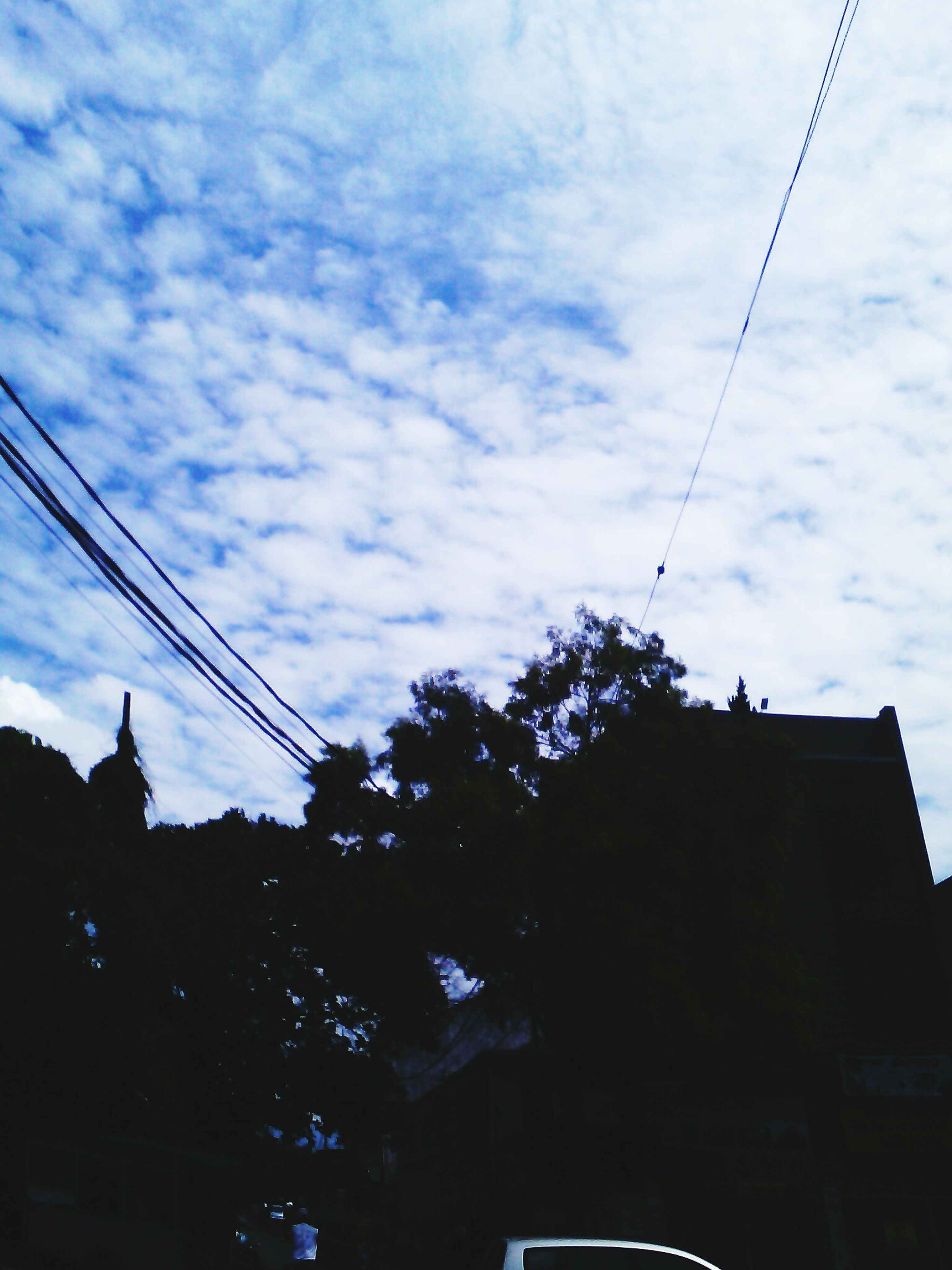 low angle view, architecture, sky, building exterior, built structure, power line, silhouette, cloud - sky, cable, cloudy, cloud, electricity, electricity pylon, street light, tree, building, power cable, dusk, high section, residential building