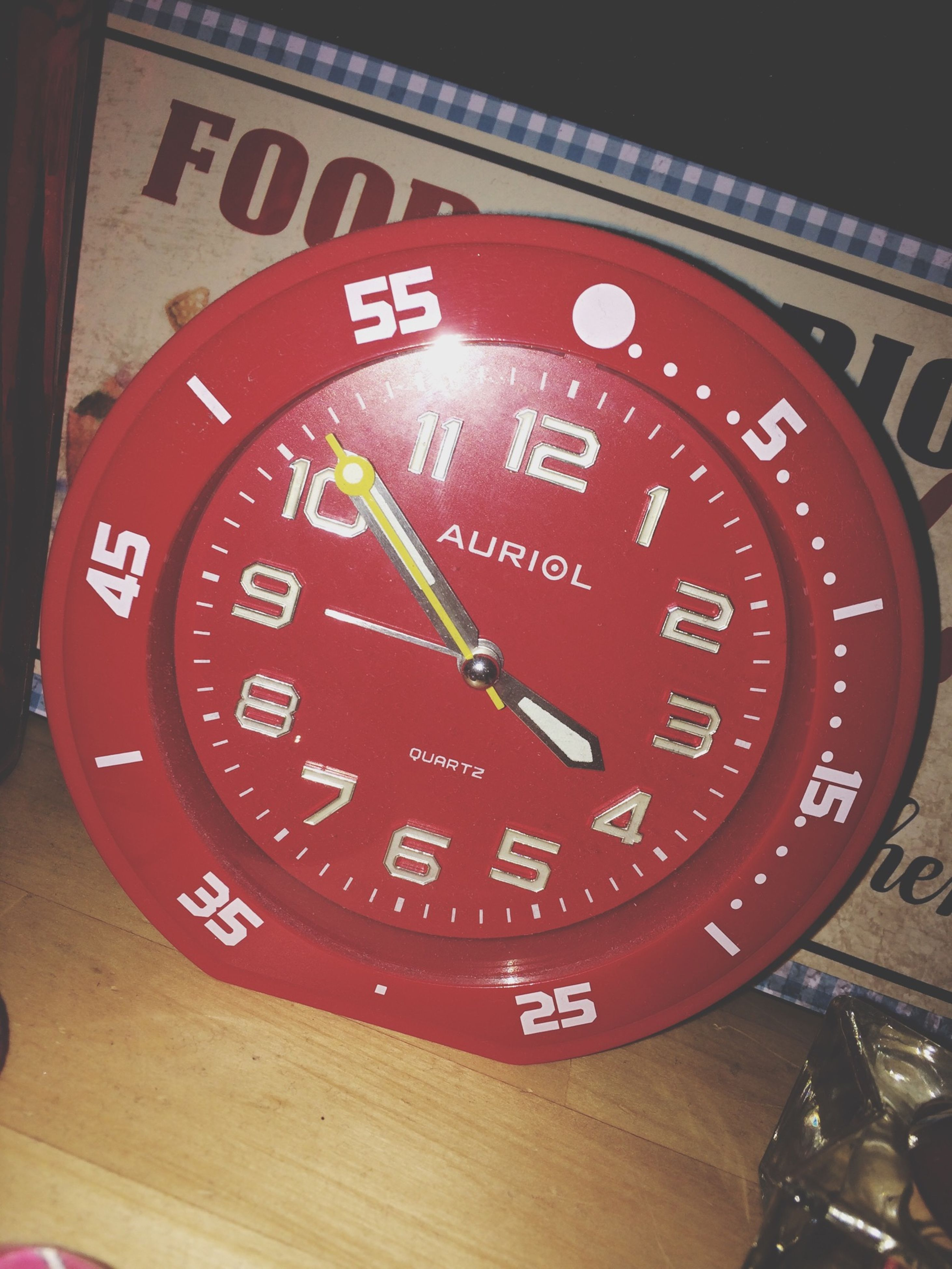 communication, text, number, western script, indoors, clock, close-up, time, technology, red, accuracy, capital letter, instrument of measurement, old-fashioned, telephone, speedometer, clock face, metal, retro styled, wall clock