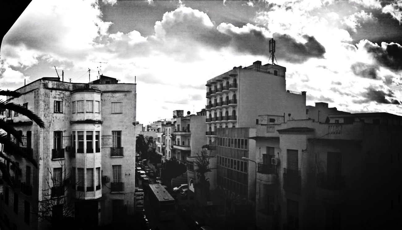Building Clouds Blackandwhite Panorama