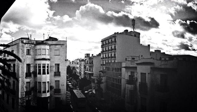 Building Clouds Blackandwhite Panorama