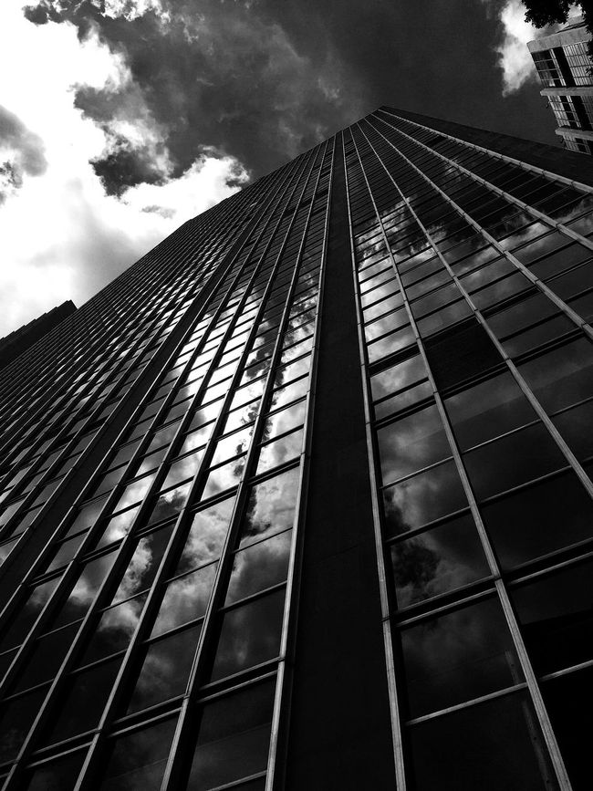 Architecture Built Structure Building Exterior Low Angle View Modern Sky City Day Tall Outdoors Skyscraper High Rise Office Block Glass Reflection Metal Lookingup Metropolitan Metropolis Streetphotography Light And Shadow Black And White Blackandwhite Canon Monochrome Photography