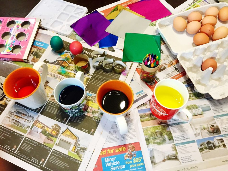 Easter Egg Decorating Holiday Easter Eggs Easter Eggs... Egg Decorating Decorating Craft Colorful Dyed Fun Childhood Memories Tradition Bright Colors Egg Arts Artistic Mugs Newspaper Crafting Time  Craft Area Messy Table Messy Creative Supplies
