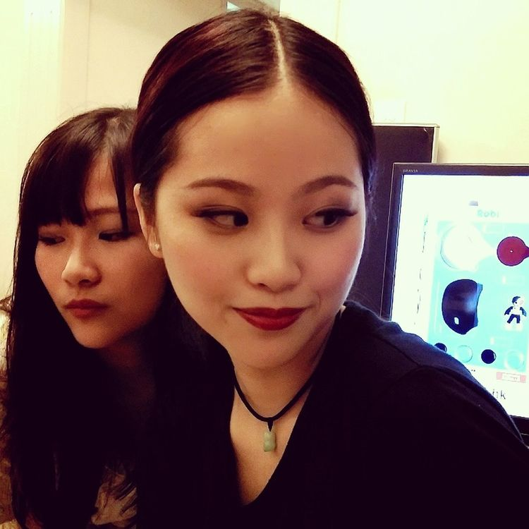 Red Lips Sisters Hanging Out Playing With Makeup