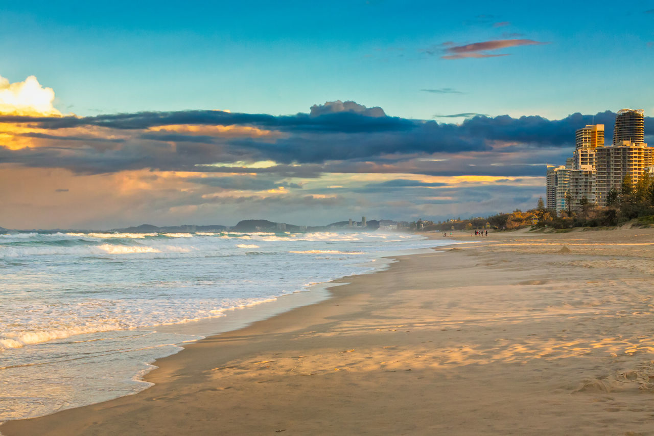 Evening Waves At The Gold Coast Beach Cloud - Sky Coastline Day Horizon Over Water Nature No People Outdoors Postcard Sand Sea Sky Sunset Travel Travel Destinations Vacations Water Wave