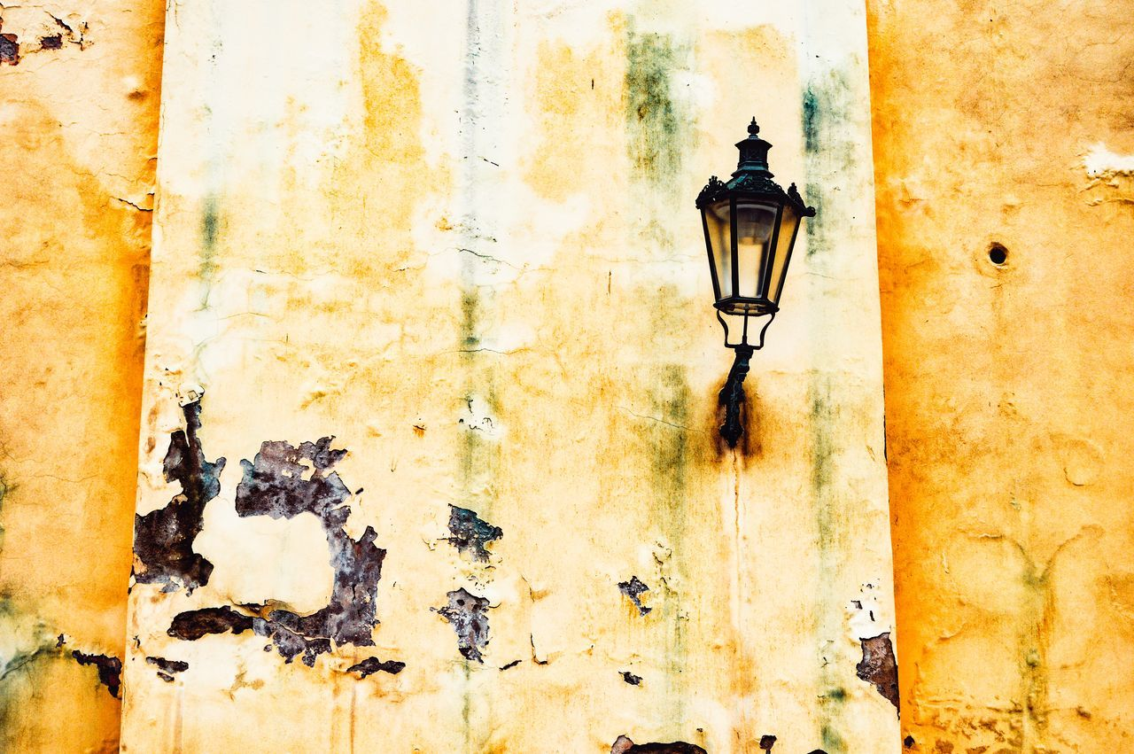 Architectural Feature Architecture Bad Condition Building Exterior Built Structure Cityexplorer Close-up Lamp Lighting Equipment Low Angle View Minimal Minimalism Minimalist Minimalist Architecture Minimalobsession Minimalove Simplicity Urban Wall - Building Feature Yellow