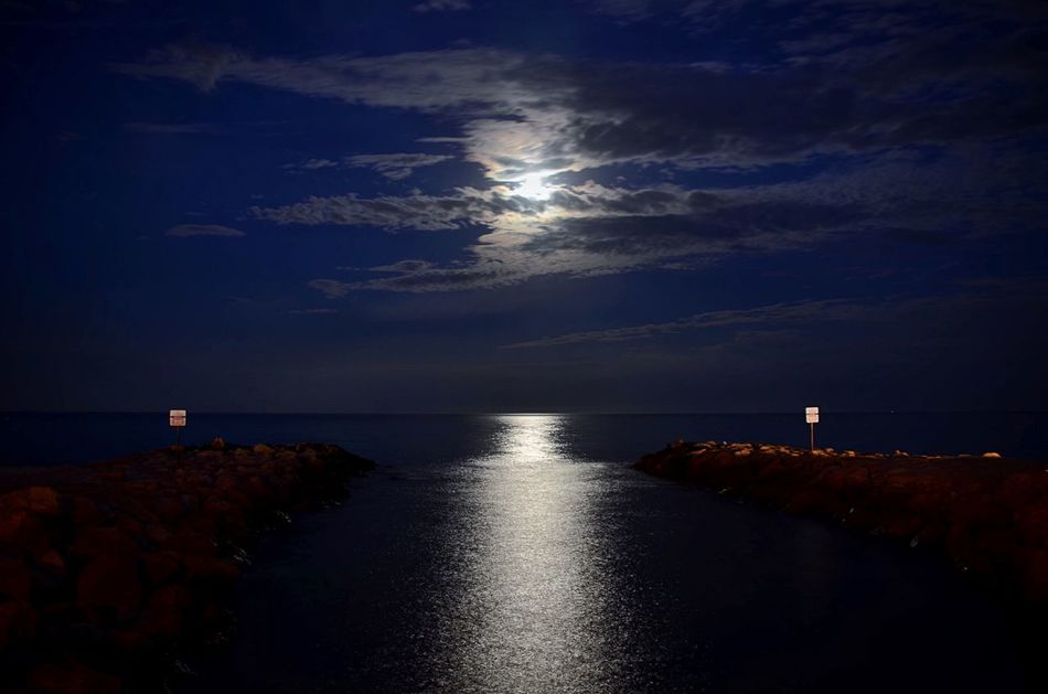 That's actually the Moon at 22:00 at Night over the Mediterranean  Sea in France . Travel Check This Out Enjoying Life