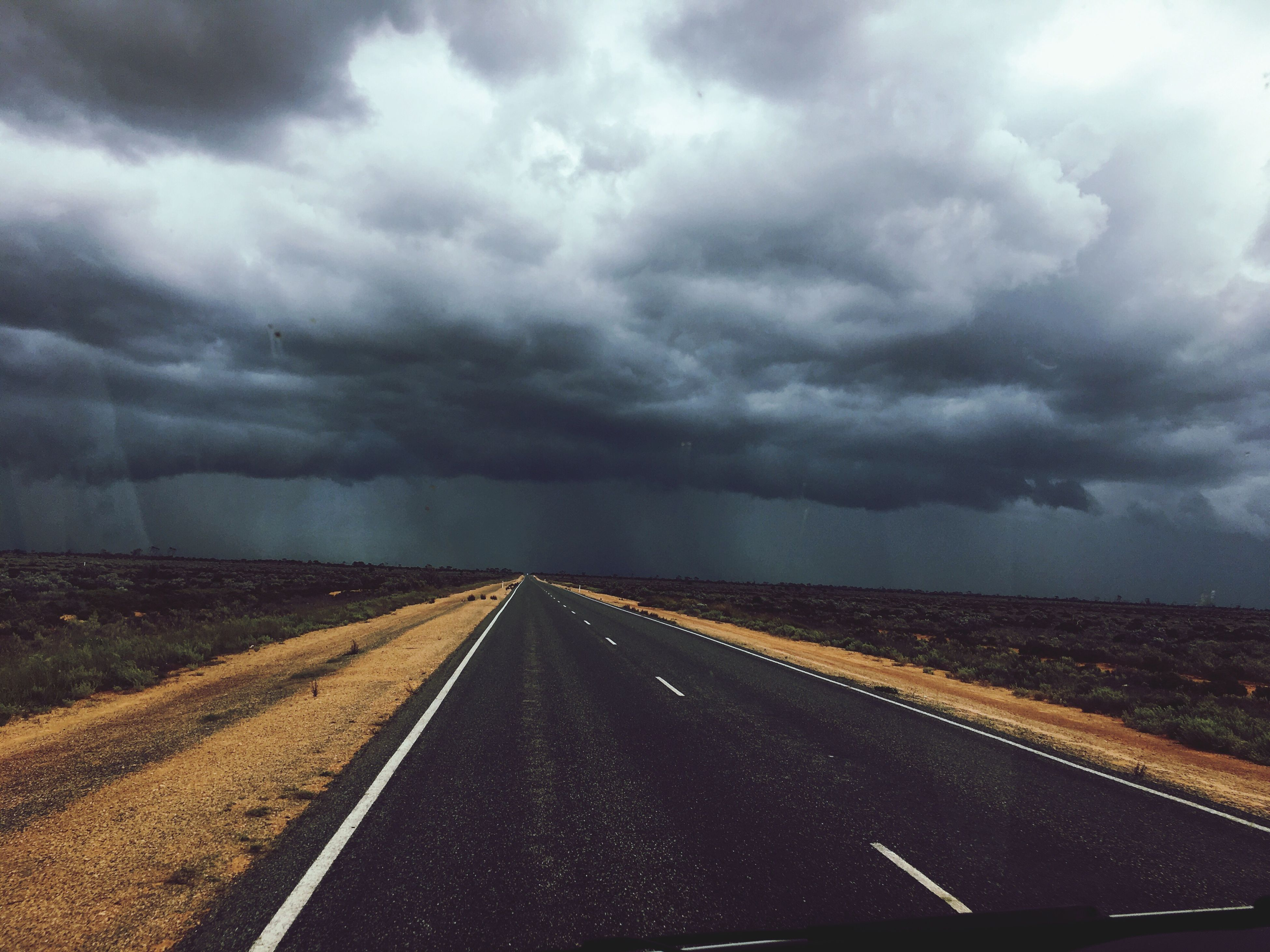 road, weather, the way forward, transportation, cloud - sky, diminishing perspective, sky, storm cloud, no people, landscape, outdoors, nature, day, scenics, beauty in nature