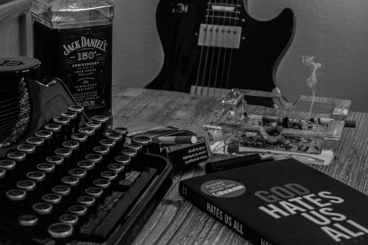 Text Indoors  Arts Culture And Entertainment Music No People Technology Typewriter Close-up Day Blackandwhite Rocknroll Guitar TypeWriters BYOPaper!