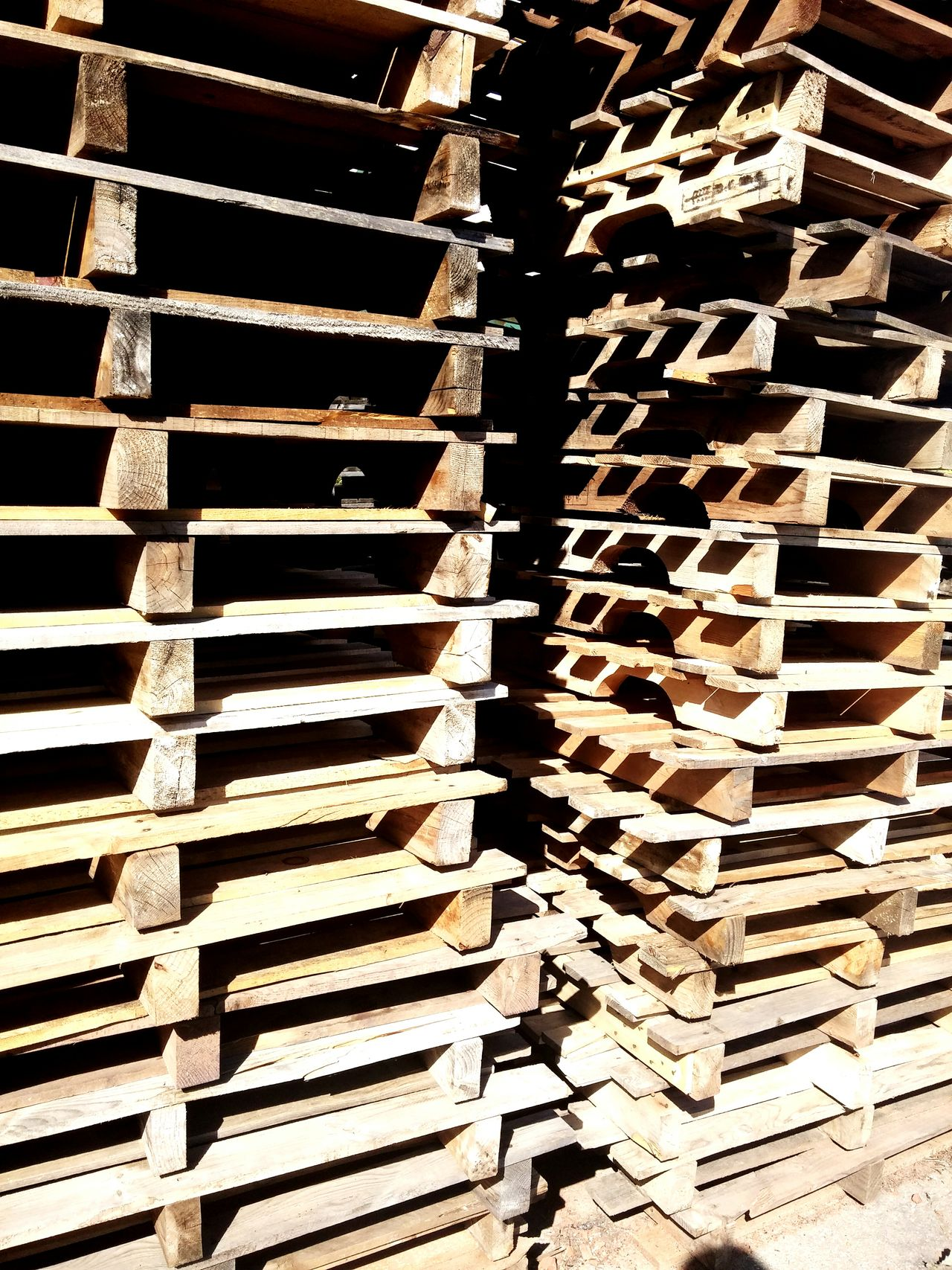 Stack of wooden pallets. Pallets Wooden Pallets Stack Of Pallets Suny Day Industrial Industry Wearhouse Logistics