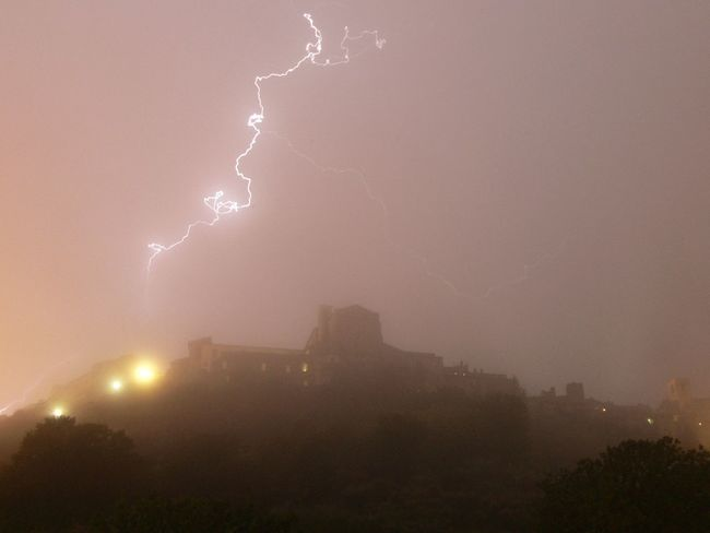 la forza della natura illumina la città di Narni Nature Sky Beauty In Nature Lightning No People Thunderstorm Outdoors Tree Night