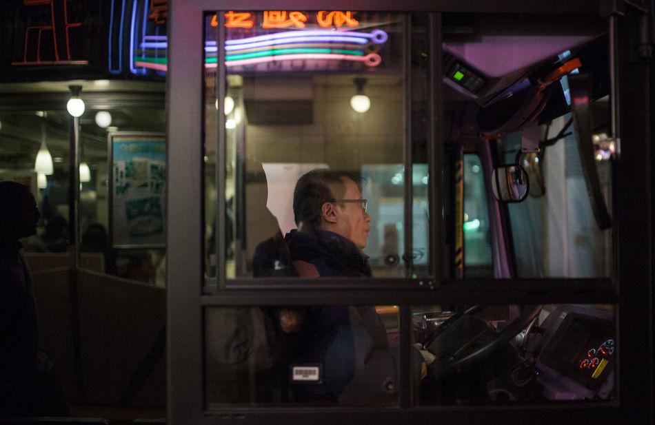 Bus Driver City Hong Kong City HongKong Illuminated Neon Night Night Life Night Lights One Man Only Only Men People Reflection Sitting Urban