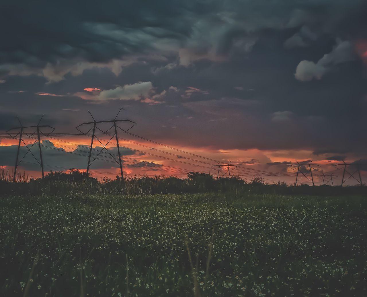 Sunset Beauty In Nature Nature Sky Rural Scene Field Orange Color Growth Scenics Dusk Alternative Energy No People Wind Turbine Tranquil Scene Dramatic Sky Tranquility Outdoors Wind Power Landscape Cloud - Sky
