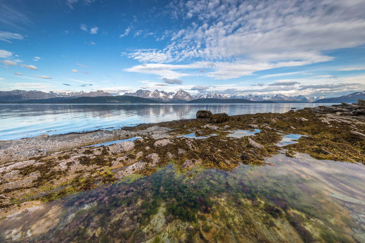 Arctic Beauty In Nature Cloud - Sky Day Idyllic Landscape Long Exposure Lyngen Alps Mountain Nature No People Northern Norway Norway Outdoors Reflection Reflection Scenics Sea Seaweed Sky Tranquil Scene Tranquility Travel Destinations Under Water Water The Great Outdoors - 2017 EyeEm Awards