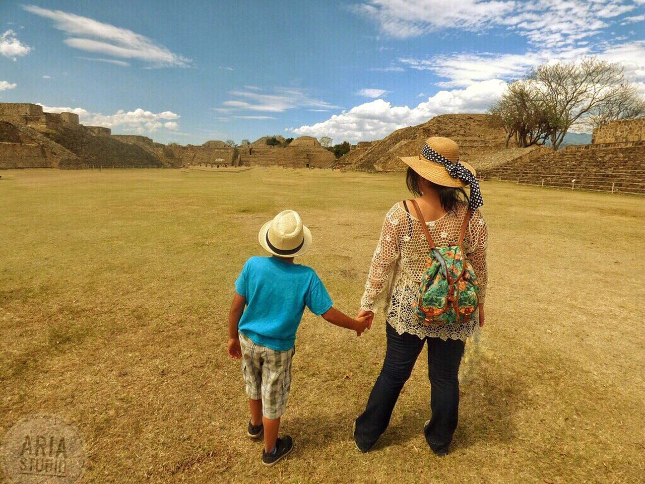 Two People Full Length Outdoors Rural Scene Togetherness People Agriculture Real People Cowboy Hat Grass Adult Clods Monte Alban Mexico sSky