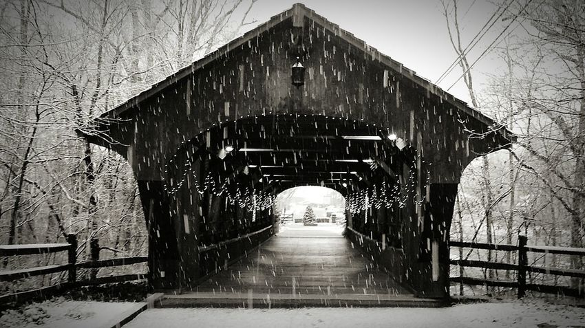 Winter Cold Temperature Snow Architecture Built Structure Bare Tree Outdoors No People Snowing Nature Day Irwin Collection Eyem Gallery Outdoors Photograpghy  Christmas Time Snowyday Christmas Lights!  Tree Covered Bridge Weather Winter Bridge - Man Made Structure Ohio, USA Olmsted Falls Black And White Photography Shades Of Winter