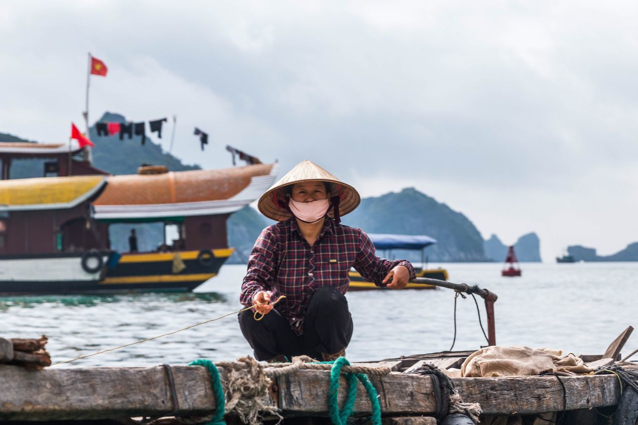 Beautiful stock photos of vietnam, water, nautical vessel, sitting, one person