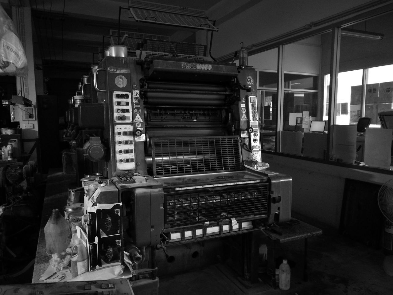 Press Factory Offset Machine Printing Print Technology Day No People Indoors  black-and-white Black And White