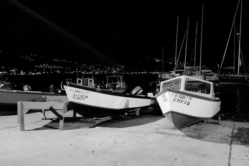The boatyard Boats Dockyard Boatyard Yachts Sailboat Black And White Nightlife Night Dark Lights St Thomas Virgin Islands