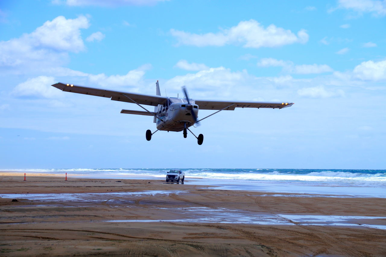 Air Vehicle Aircraft Airplane Australia Beach Beauty In Nature Blue Cloud - Sky Day Flying Fraser Island Hervey Bay Herveybay Horizon Over Water Mid-air Nature No People Outdoors Sand Sea Sky Takeoff On The Beach Water Waves Done That.