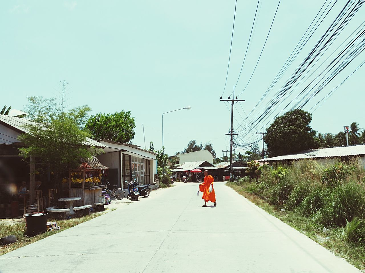Buddhism Monk  Thailand Koh Phangan Wires In The Sky Wires Orange Color Buddhist Monks Buddhist