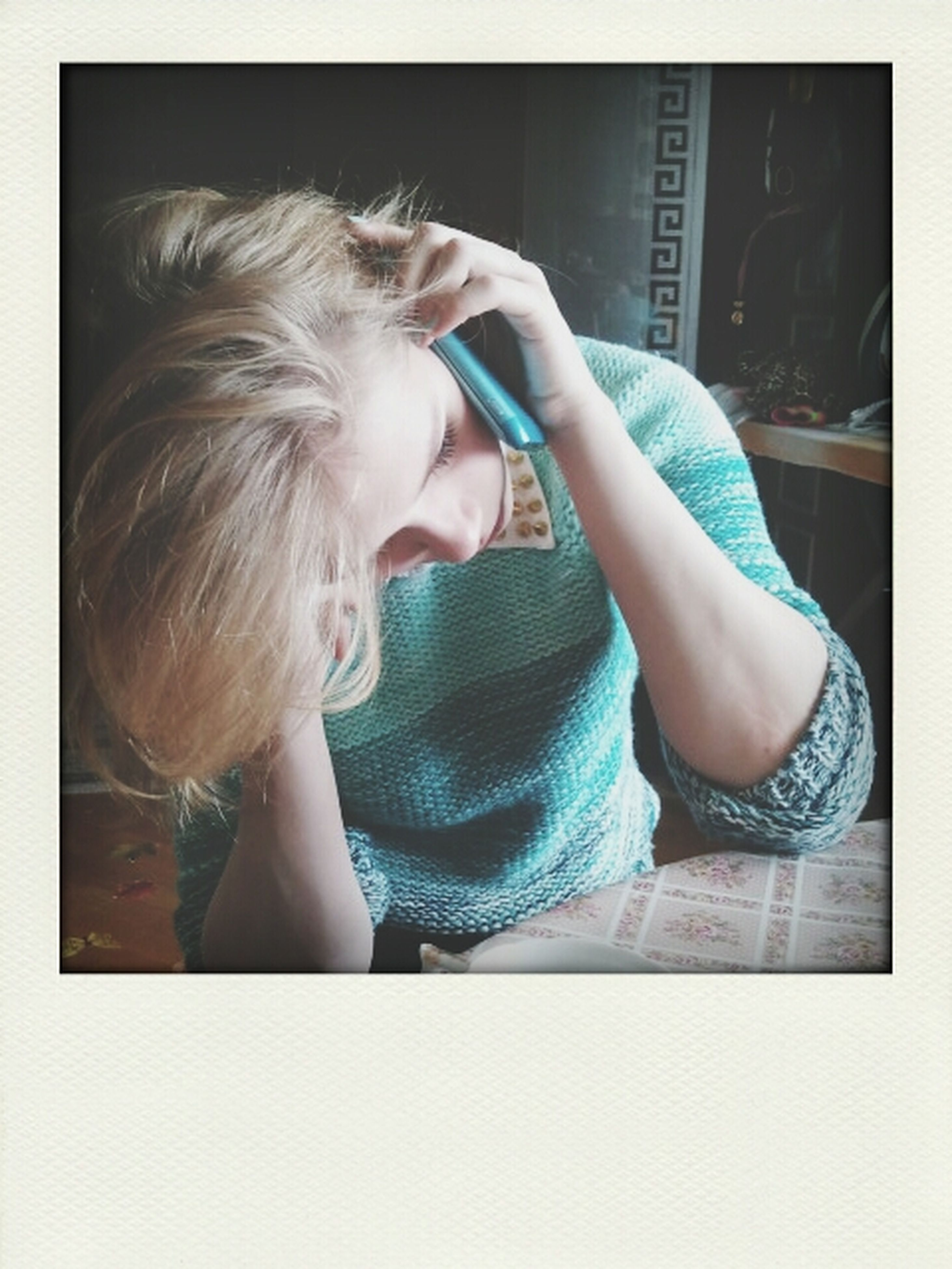 indoors, person, transfer print, lifestyles, childhood, auto post production filter, leisure activity, casual clothing, elementary age, blond hair, home interior, innocence, young adult, relaxation, headshot, young women, waist up, cute