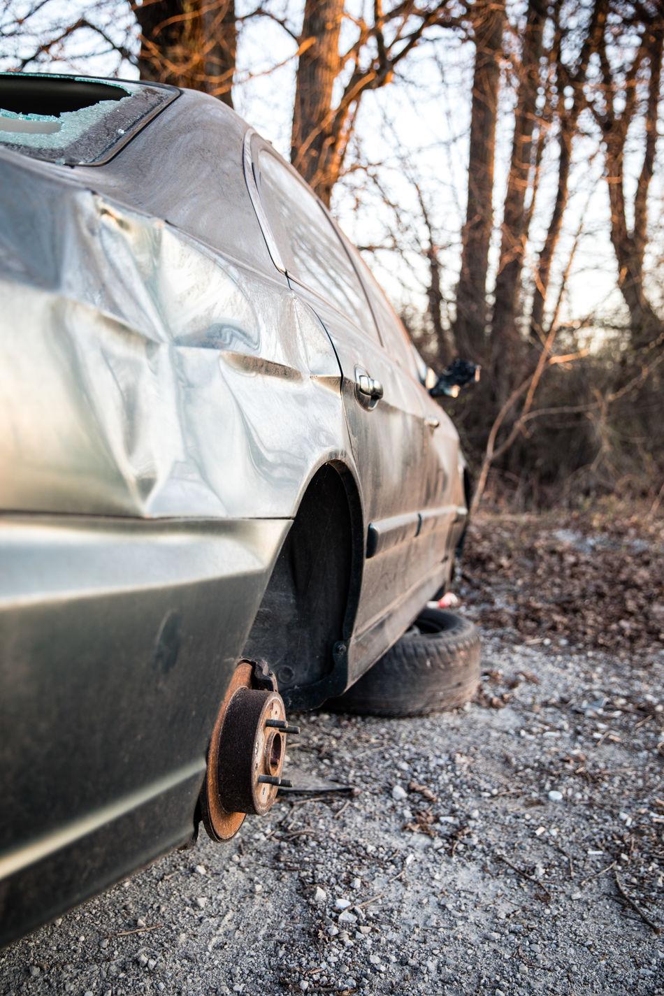 Abandoned Abandoned & Derelict Broken Broken Car Broken Down Broken Down Car Broken Glass Car Cracked Mangled Vandalism Vandalized Wheel Well