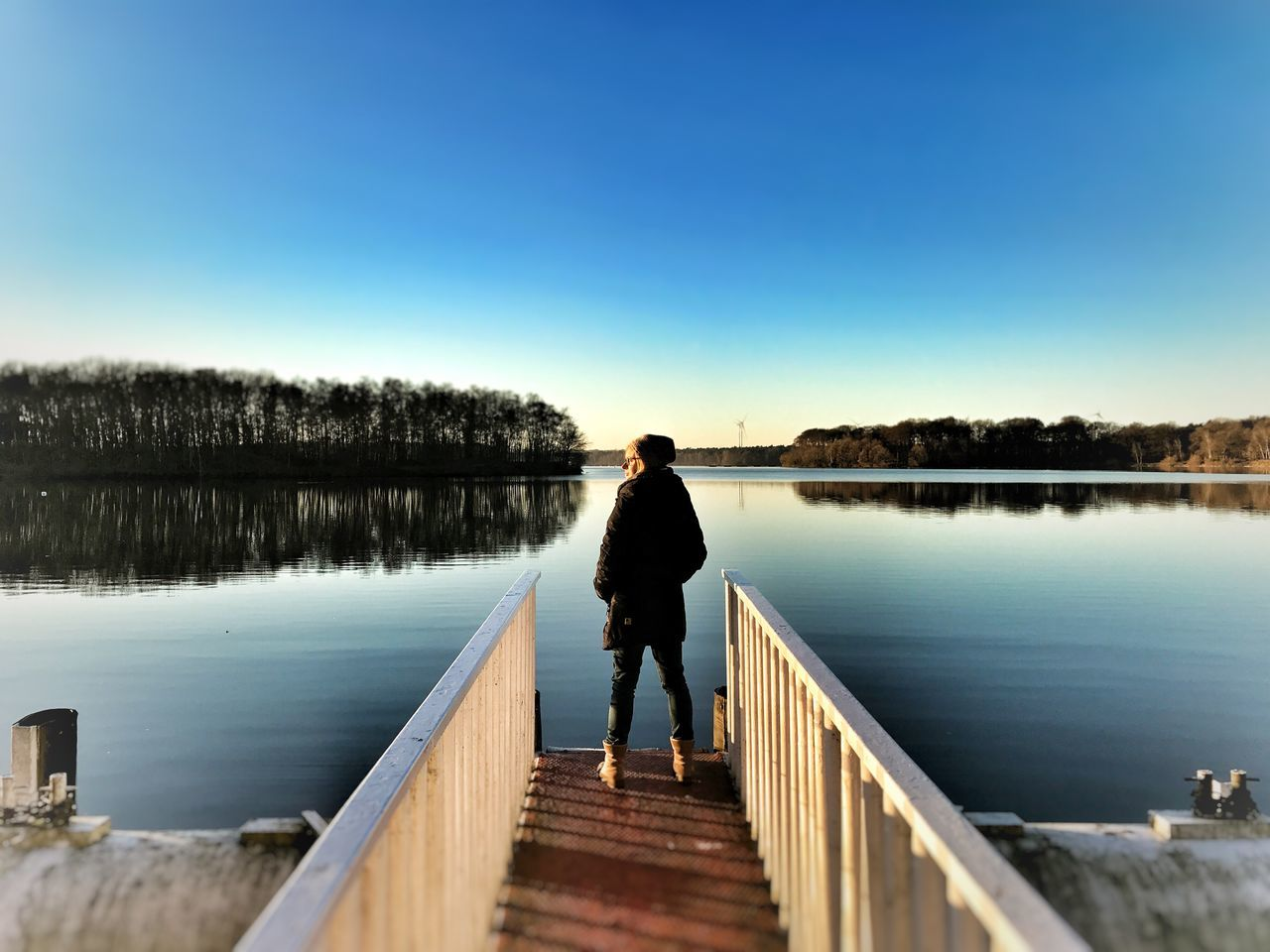 EyeEmNewHere Nature Pier Rear View Full Length Clear Sky Railing One Person Water Jetty Tranquil Scene Tranquility Boardwalk Real People Lake Standing Day Scenics Calm Haltern Am See Stausee