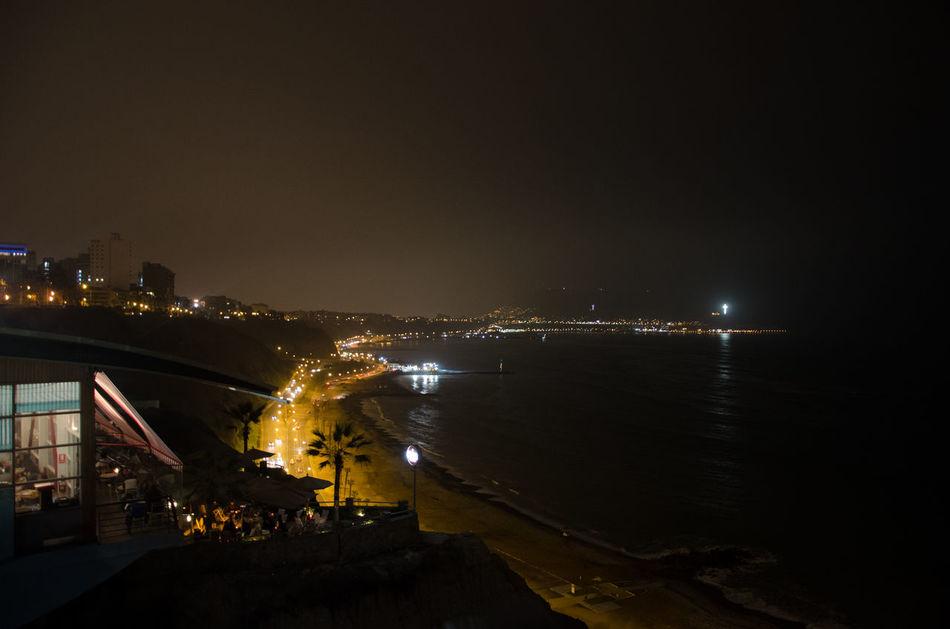 Barranco Barranco Lima Coastline Lima Miraflores Ocean Road Pacific Ocean Peru South America Miraflores Lima Night