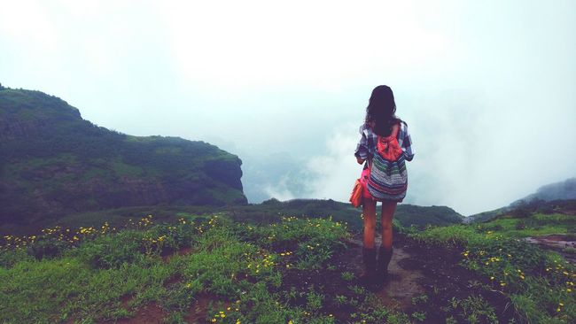 One Person Fog Young Adult One Woman Only Outdoors Cliff Edge Travelling Wondering Mind, Wandering Soul. Simplicity Is Beauty. Girl On The Mountain