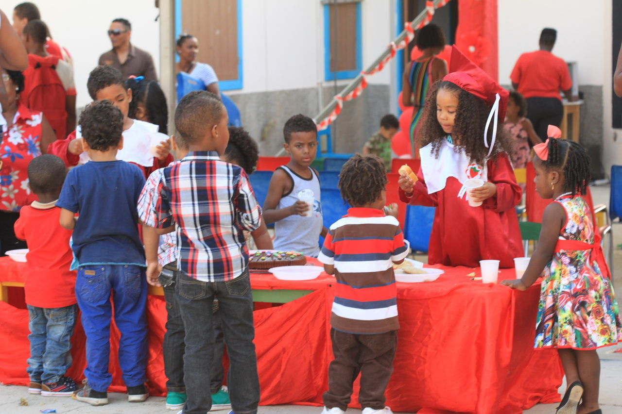 Capo Verde Children Community Day Drinking Eating Feast Graduating Large Group Of People Outdoors Red Color Sal Island Santa Maria Summer 2015 Togetherness
