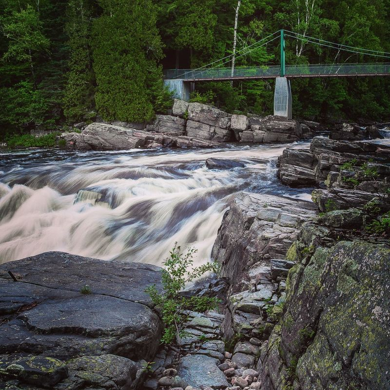 Suspension Bridge over the Waterfalls at Canyon Canyon Saint-anne Quebec Landscape Summer Views Protecting Where We Play