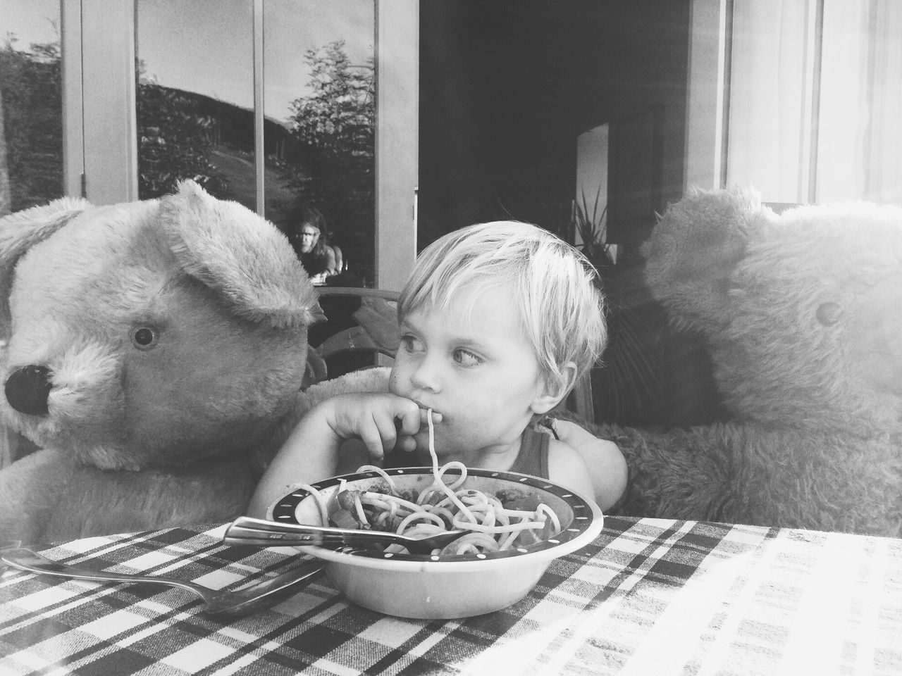 A real life teddy bear picnic Pets Animal Themes One Person Food And Drink Portrait Healthy Eating Home Exterior Teddy Bear Teddy Bear Picnic Preschooler Looking Away From Camera Black And White Childhood Day Food Real People Close-up