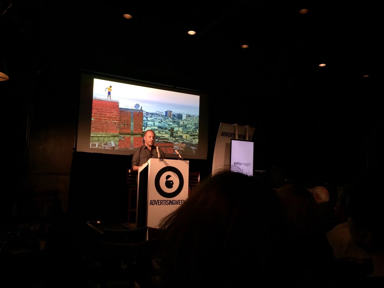 Mario Tama speaks about documenting the Favelas of Rio de Janeiro on October 02, 2014 at B.B. Kings Blues Club in New York City. #AWXI