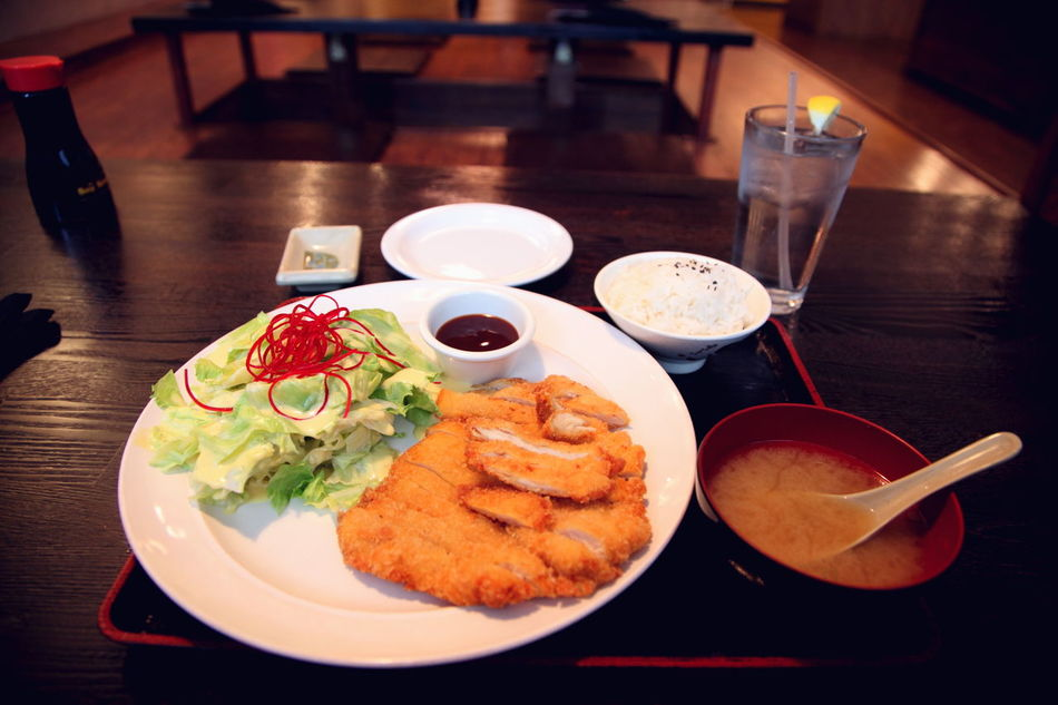 Chicken Katsu Chicken Chicken Katsu Delicious Dining Eating Out Food Food And Drink Japanese Food Meal Miso No People Plate Restaurant Salad Soup Table Yummy