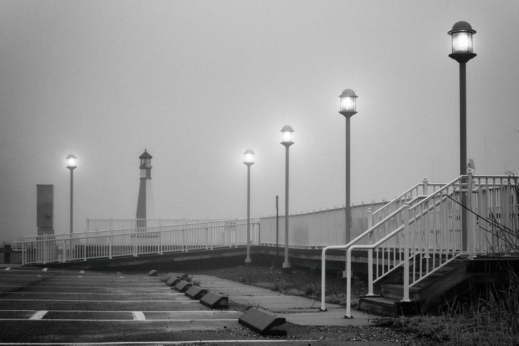 Architecture Built Structure Day Fog Illuminated In A Row Lighting Equipment Nikon No People Outdoors Railing Sea Sky Street Light