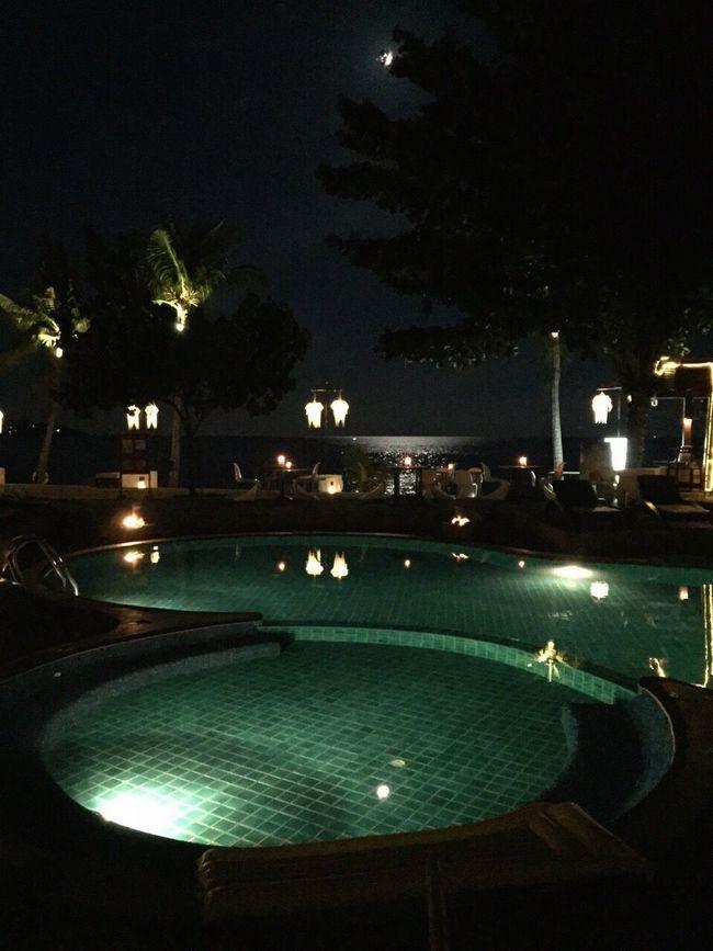 Thailand Lights Dark Happy Evening Koh Samui Island Water Tree Ocean Sea Coconut Trees Palm Trees Beach Pool Swimming Swimming Pool Bar Resort Pavilion Happiness Lantern Lanterns Blue Moonlight