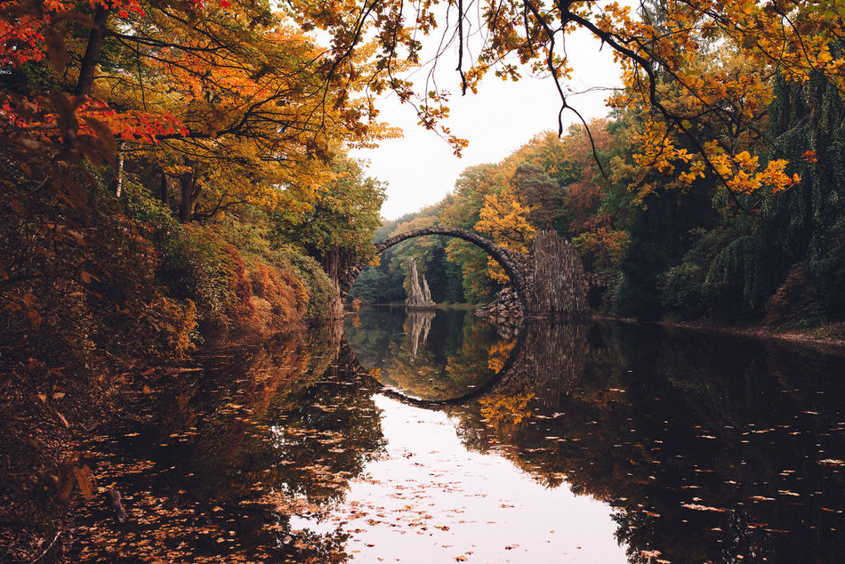 Autumn Beauty In Nature Bridge Brücke Day Growth Lake Nature No People Outdoors Rakotz Rakotzbridge Rakotzbrücke Reflection Reflection Lake Sky Standing Water Sunset Tranquility Tree Water Waterfront