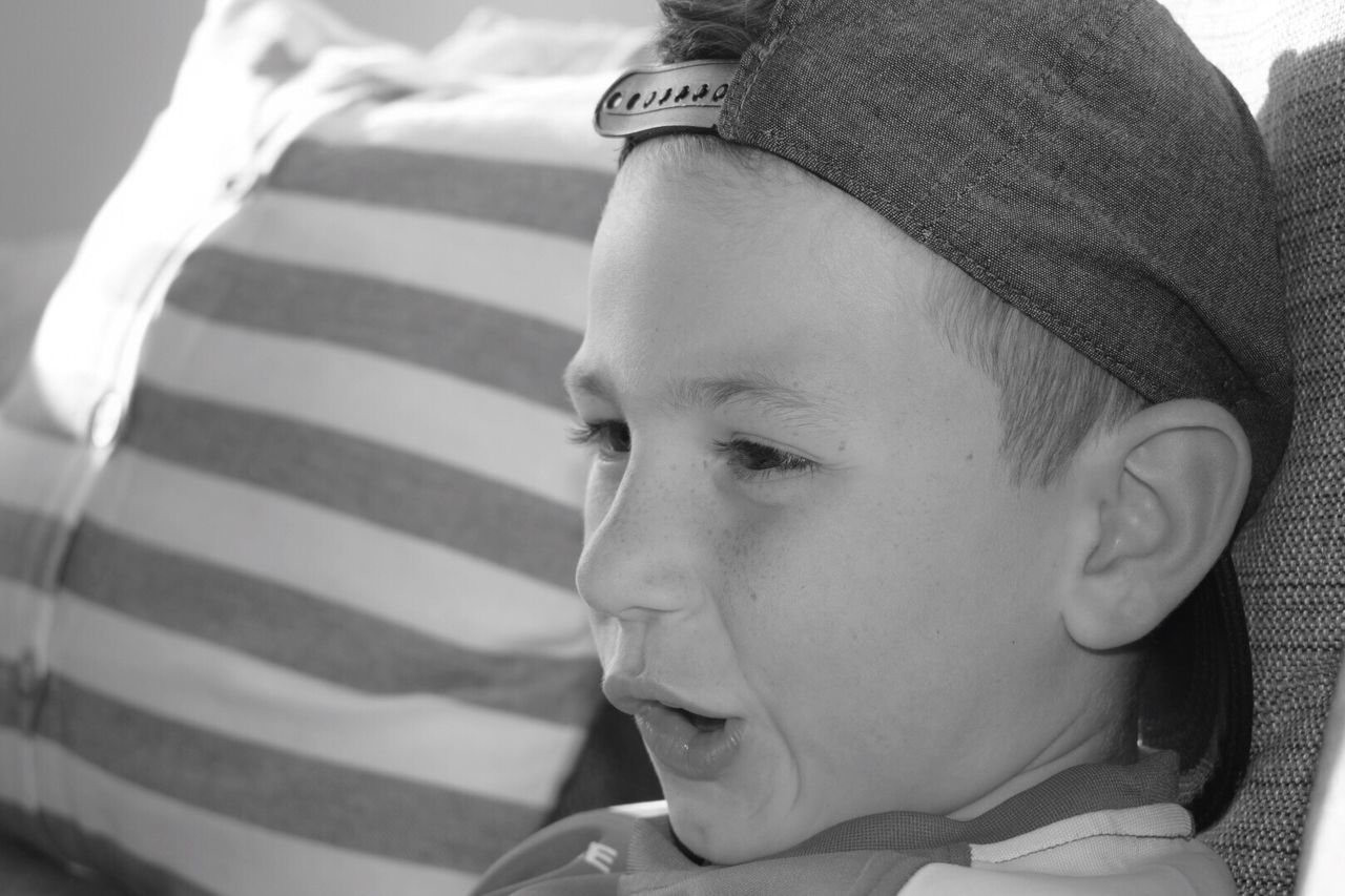 My Son Childhood Real People Innocence Close-up Portrait Headshot Indoors  Deep In Thought Family Matters Cute Blackandwhite Baseball Cap Thinking About Life Trying To Look Cool Humour In Making Faces Concentration The Portraitist - 2017 EyeEm Awards