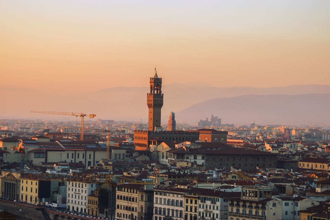 In the distance! Architecture Building Exterior Built Structure City Cityscape Crowded Sunset High Angle View Residential Building Sky Outdoors Settlement Scenic Lookout Day City Italy Italia Firenze Cityscape EyeEm Best Shots EyeEm Nature Lover Landscape River Travel City Life