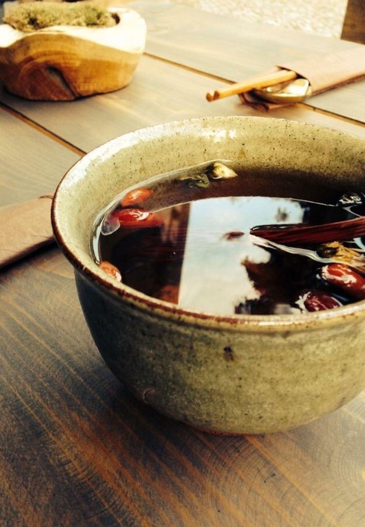 Tea Tea Time Wooden Table Clay Cup Autumn Rose Tea Still Life