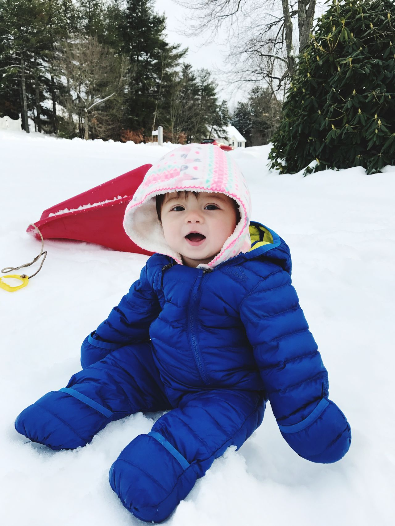 Snow Sports babies first snow day . First time sledding. Snow Winter Happiness Child Cold Temperature Sledding Snow ❄ Snow Day