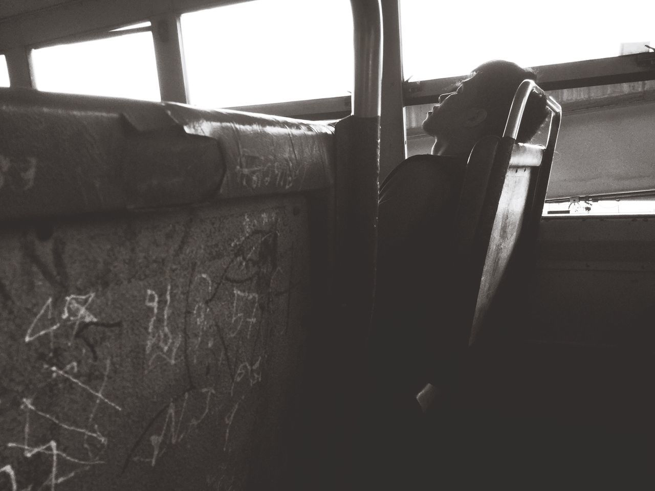 Teenager Boy Sleeping Onthebus Ontheroad Laydown Window Bus Bangkok Transportation Blackandwhite Lifestyles Asian