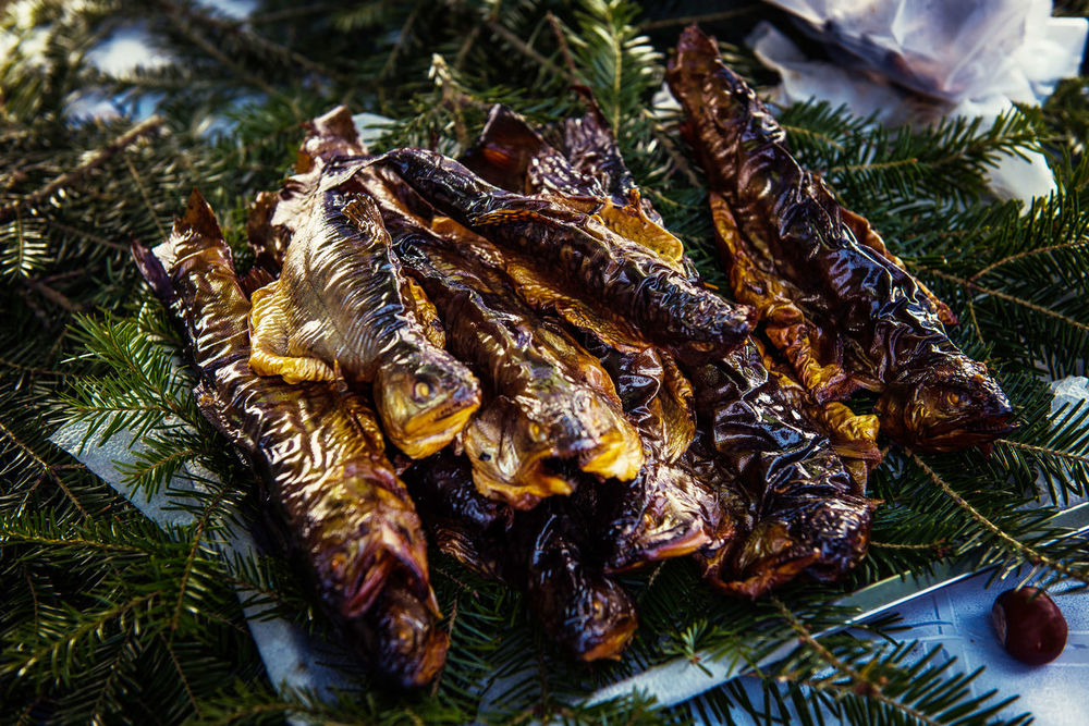 Smoked trouts on pine branch in the market Market Nature Seabass Smoked Close-up Delicious Fillet Fish Market Fish Scales Food Freshness Gourmet Healthy Healthy Food Herring Fishery Mackerel Nutrition Organic Food Pine Branch Preserved Foods Salmon Seafood Smoked Fish Smoked Trout Still Life