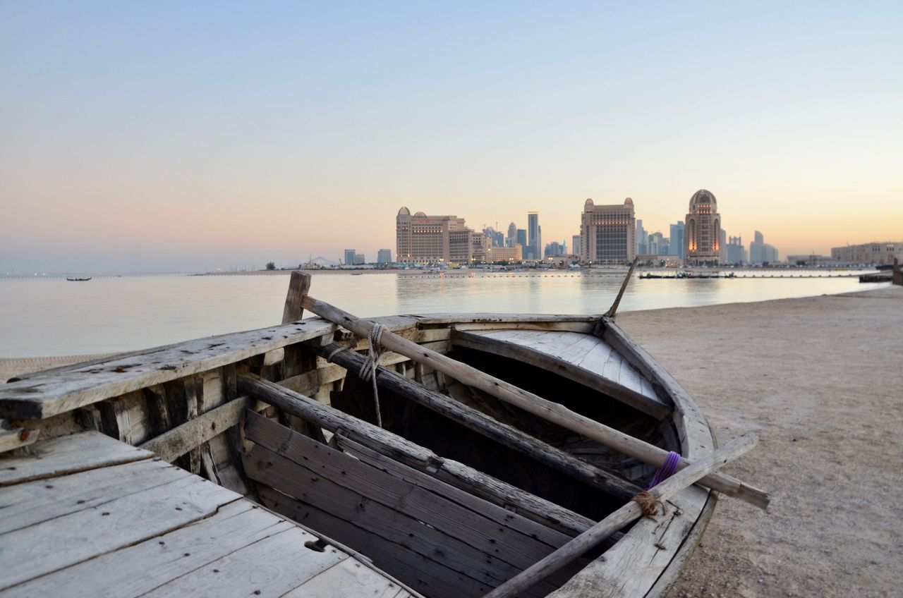 Clear Sky Old Boat Water City Architecture Sea No People Outdoors Beauty In Nature Katara Sky Lights In The City Arabian Gulf St Regis  Hotel Lifestyles Lieblingsteil Luxury Vacations Beach Qatar Culture