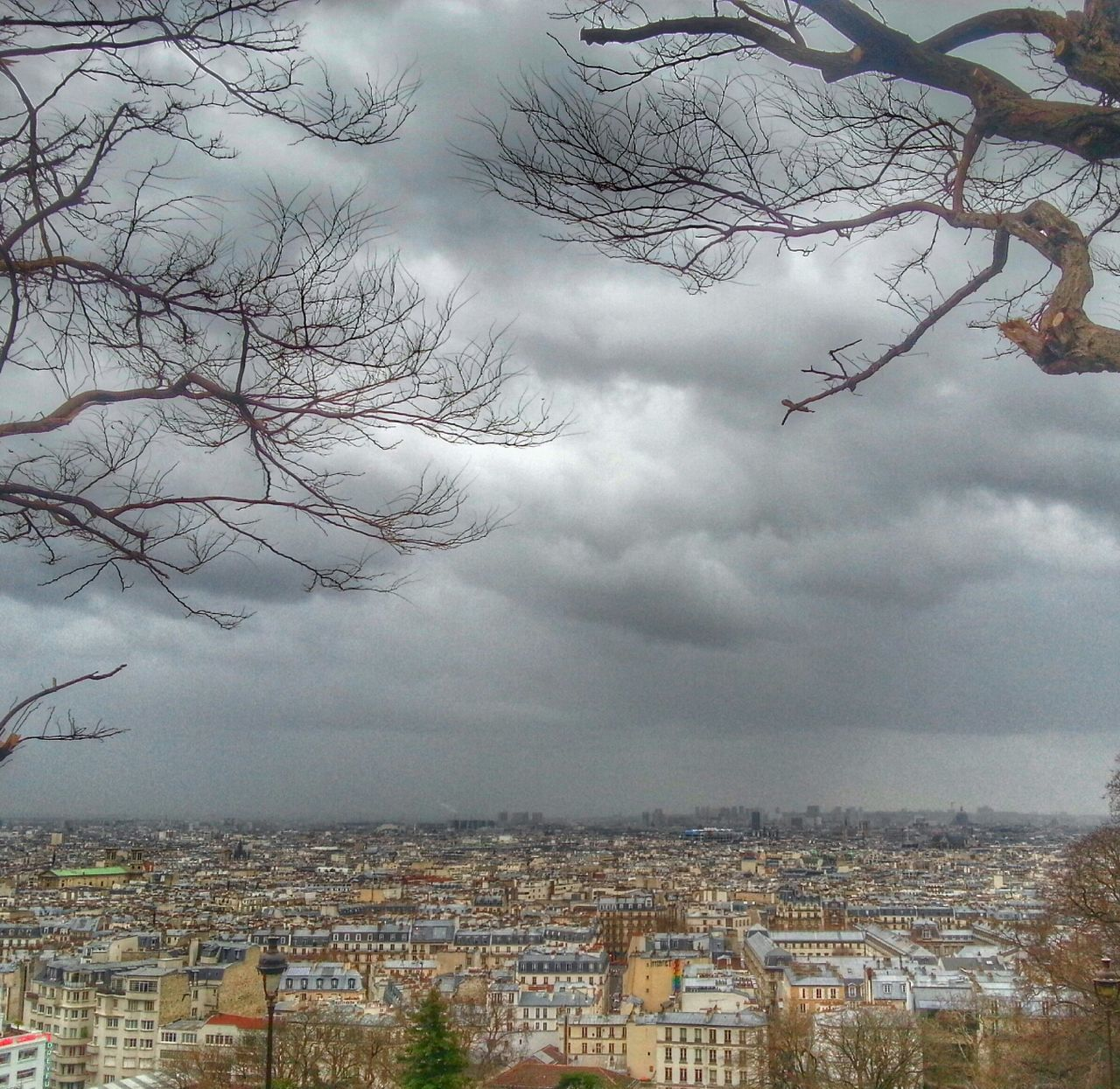 Cityscape against clouds with bare branches in foreground