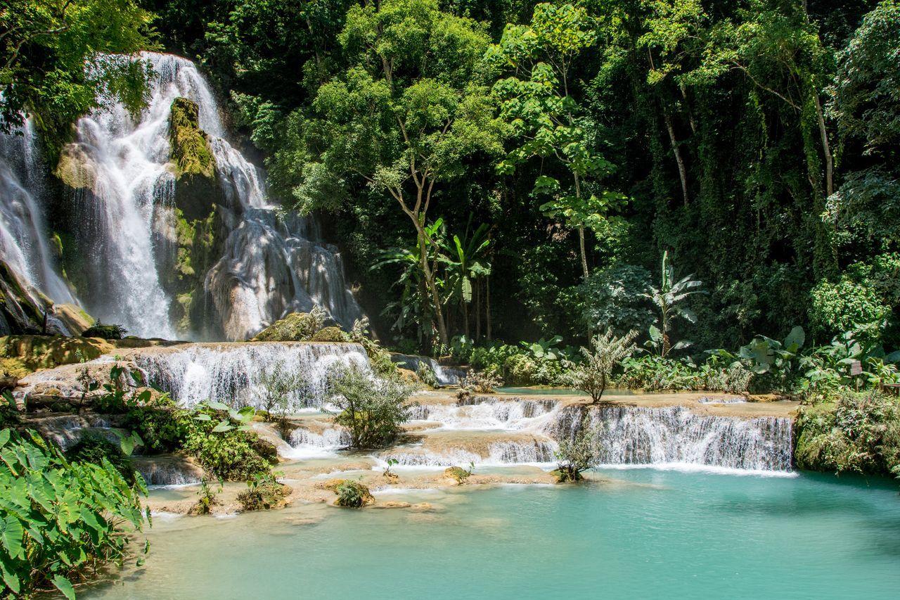 Kuang Si Waterfalls 2 Beauty In Nature Flowing Water Kuang Si Waterfalls Kuang Xi Waterfall Kuangsifalls Laos Luang Prabang Luangprabang Nature Non-urban Scene Tranquil Scene Tranquility Water Waterfall