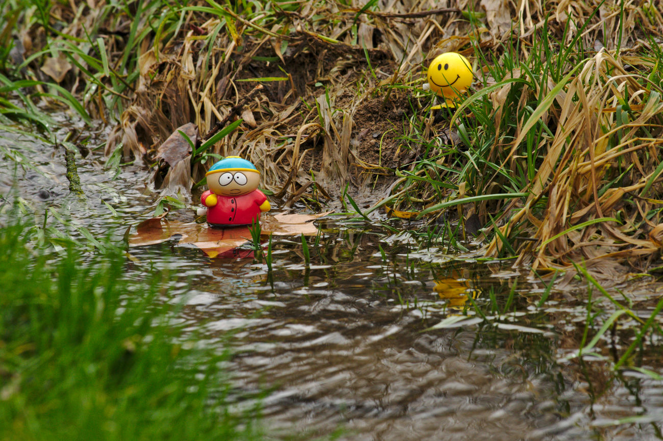 say goodbye Adventures Arrangement Best Friends Brook Cartman Elevated View Figurines  Floating Floating On Water Grass Grass Green New Adventures Nikon Outdoor Photography Outdoors Red Southpark Telling Stories Differently Toy Adventures Toy Photography Toy Story Water Reflections Yellow