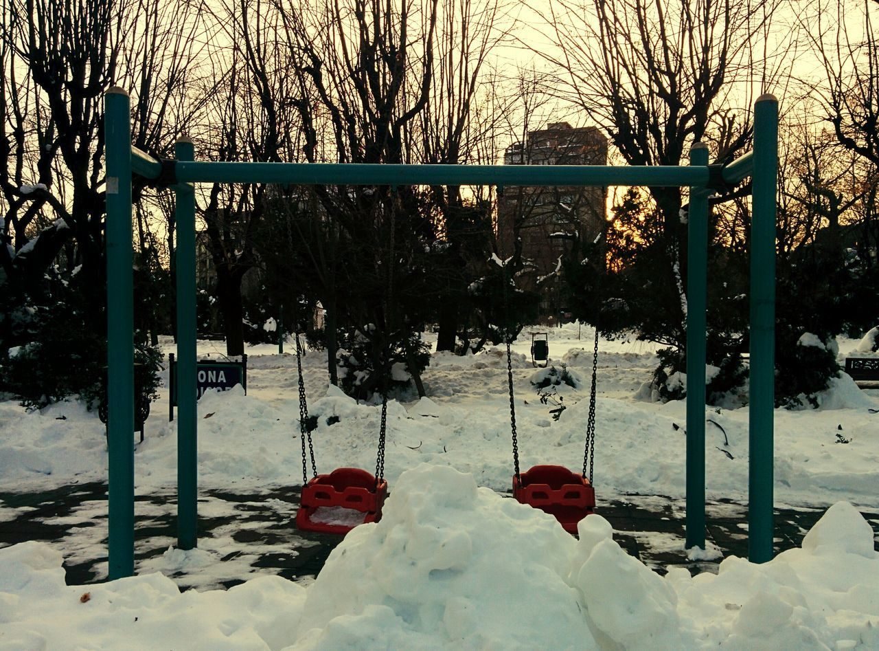 All snow and no play makes Jack a dull boy. Tree Winter Cold Temperature Snow Nature Outdoors No People Beauty In Nature Branch Day Swing Sunset Snow