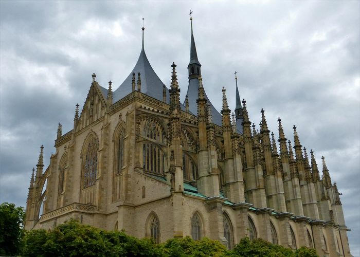 Architecture Built Structure Cathedral Church Church Of St. Barbara City Cloud Cloud - Sky Cloudy Day Dome Façade Famous Place History Low Angle View No People Outdoors Overcast Place Of Worship Religion Sky Spirituality Tourism Travel Destinations Unesco