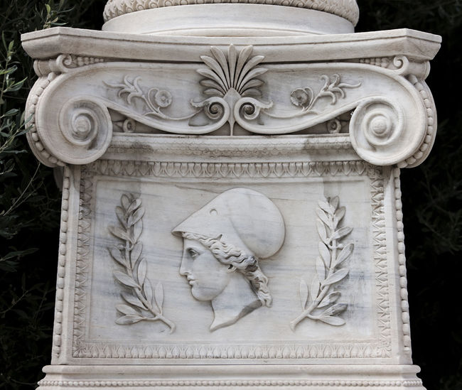 Academy Of Athens Art Art And Craft Athena Column Geometry Greece History Marble Minerva Neoclassical Neoclassical Architecture Ornate Sculpture Statue Symmetry Theophil Hansen